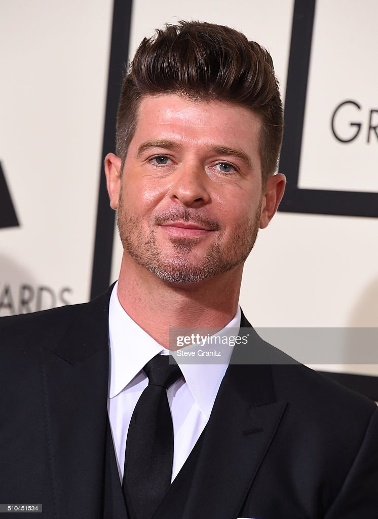 Singer Robin Thicke attends The 58th GRAMMY Awards at Staples Center on February 15, 2016 in Los Angeles, California.