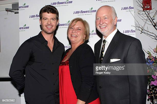 Singer Robin Thicke Floral lifestyle expert Julie Mulligan and 1800Flowers CEO Jim McCann attend at An Evening of Romance Rhythm presented by...