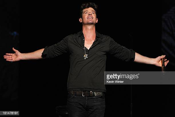 Singer Robin Thicke onstage at Macy's Passport Presents: Glamorama - 30th Anniversary in Los Angeles held at The Orpheum Theatre on September 7, 2012...