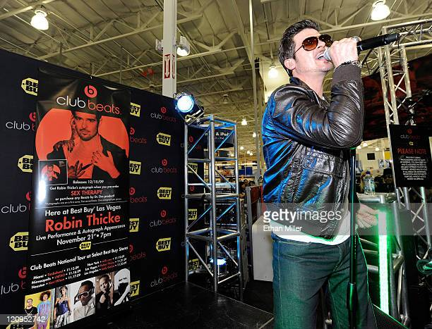 Singer Robin Thicke performs at a launch party for Best Buy Monster and Beats by Dr Dre at a Best Buy store November 21 2009 in Las Vegas Nevada