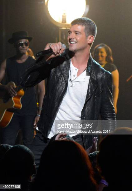 Singer Robin Thicke performs onstage during the 2014 Billboard Music Awards at the MGM Grand Garden Arena on May 18 2014 in Las Vegas Nevada