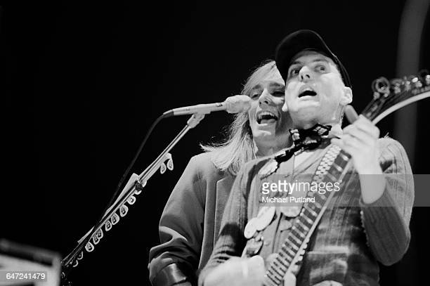 Singer Robin Zander and guitarist Rick Nielsen performing with American rock group Cheap Trick May 1979