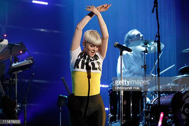 Singer Robyn performs onstage during Logo's 'NewNowNext Awards' 2011 at Avalon on April 7 2011 in Hollywood California