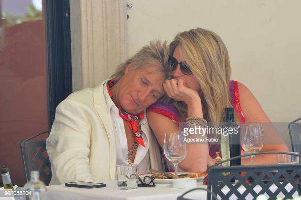 Singer Rod Stewart and his wife Penny Lancaster are seen on May 24 2018 in Rome Italy