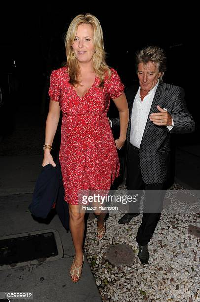 Singer Rod Stewart and pregnant wife Penny Lancaster arrives at a launch party at MADEO for Rod Stewart's Album Fly Me To The Moon The Great American...