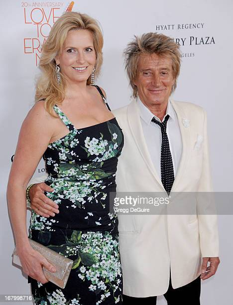 Singer Rod Stewart and wife Penny Lancaster arrive at the 20th Annual Race To Erase MS Gala 'Love To Erase MS' at the Hyatt Regency Century Plaza on...