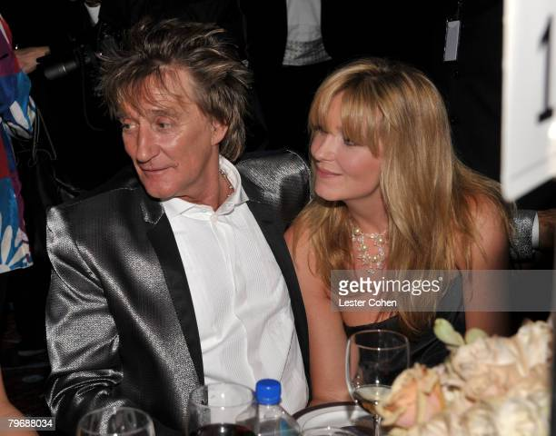 Singer Rod Stewart and wife Penny Lancaster during the 2008 Clive Davis PreGRAMMY party at the Beverly Hilton Hotel on February 9 2008 in Los Angeles...