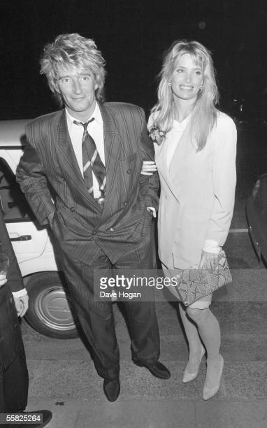 Singer Rod Stewart arrives at Ronnie Wood's birthday party with his girlfriend Kelly Emberg June 1988