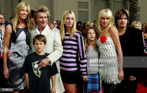 Singer Rod Stewart his wife Penny Lancaster and his children Liam Stewart Ruby Stewart Renee Stewart Kimberley Stewart and Sean Stewart attend the...