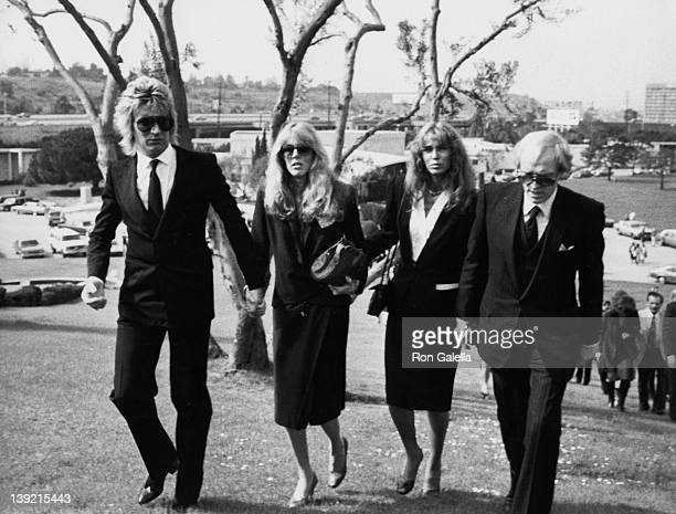Singer Rod Stewart model Alana Hamilton actress Ann Turkel and actor Richard Harris attending 'Funeral Service for David Jansen' on February 17 1980...