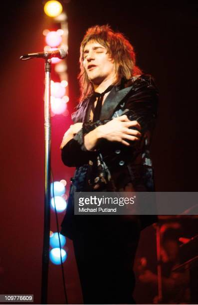 Singer Rod Stewart of the Faces performing on stage in London England in 1971