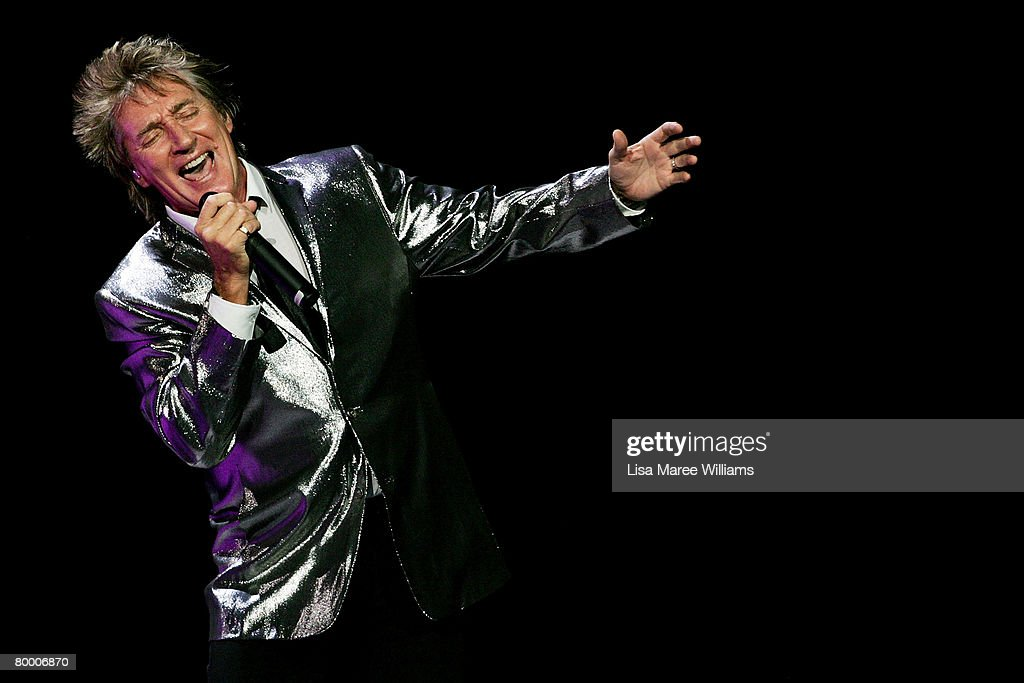 Singer Rod Stewart performs on stage at the Acer Arena on February 26, 2008 in Sydney, Australia.