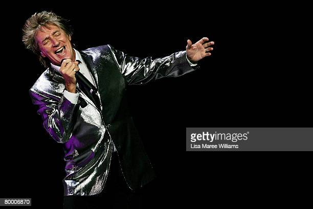 Singer Rod Stewart performs on stage at the Acer Arena on February 26 2008 in Sydney Australia