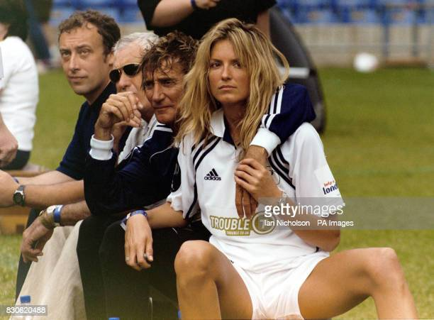Singer Rod Stewart with his girlfriend Penny Lancaster at the Soccer Six 7th annual music soccer tournament at Stamford Bridge football ground London