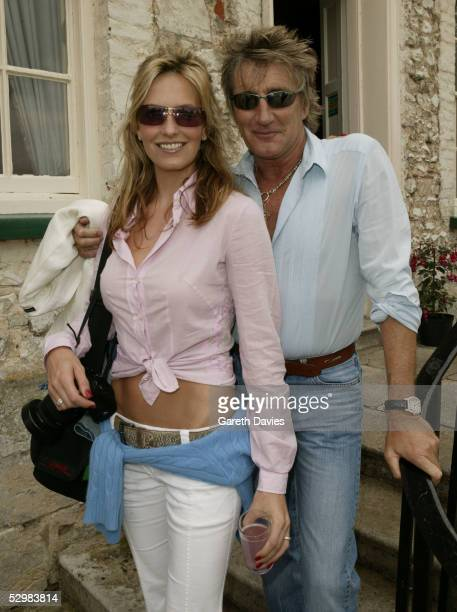 Singer Rod Stewert and Penny Lancaster attends The Burton Best Of British Football Academy celebrity 5aside football tournament in aid of the Bobby...