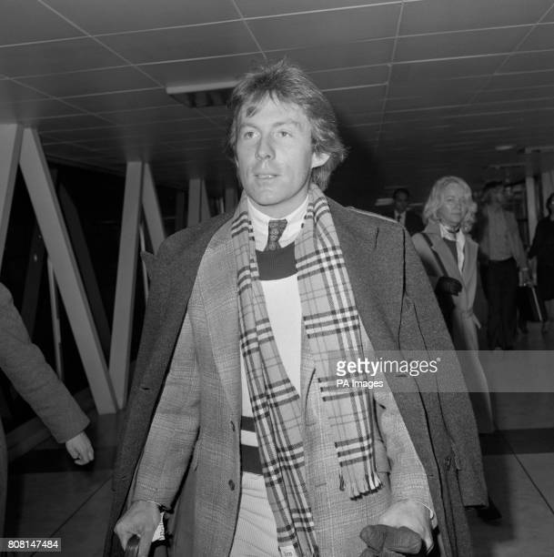 Singer Roddy Llewellyn who recently launched his first record leaving Heathrow Airport for New York