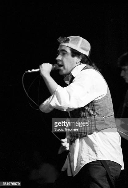 Singer Rodney 'Anonymous' Linderman performs with American satirical punk rock band The Dead Milkmen on stage at Cabaret Metro on March 3 1989 in...