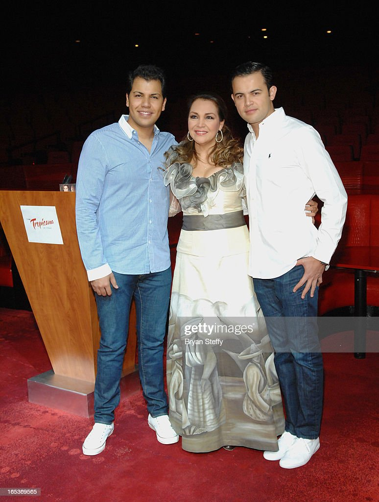 Singer Rodrigo Cuevas, Latin Grammy Award-winning Mexican singer Aida Cuevas and singer Diego Cuevas attend a press conference announcing Aida Cuevas's Cinco de Mayo performance at the Tropicana Theater at the New Tropicana on April 3, 2013 in Las Vegas, Nevada.