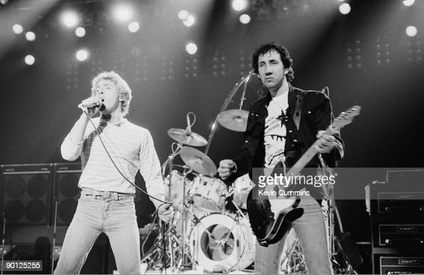Singer Roger Daltrey and guitarist Pete Townshend of English rock group The Who performing at the Manchester Apollo 1st March 1981