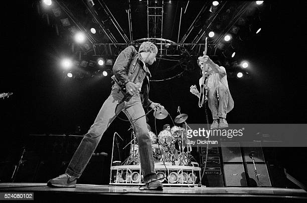 Singer Roger Daltrey and guitarist Pete Townshend of the rock band The Who perform in concert