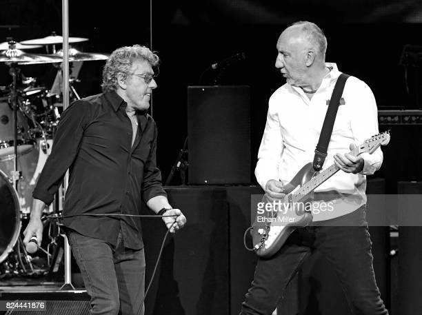 Singer Roger Daltrey and guitarist Pete Townshend of The Who perform on the first night of the band's residency at The Colosseum at Caesars Palace on...