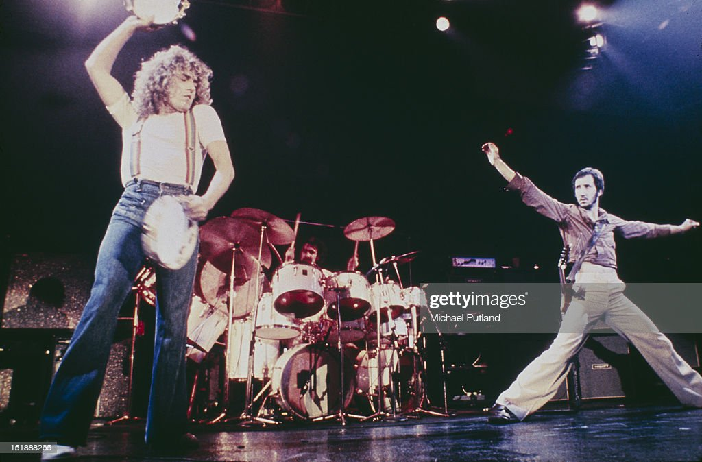 Singer Roger Daltrey (left) and guitarist Pete Townshend performing on stage with English rock group The Who, circa 1976. Keith Moon (1946 - 1978, centre) is on drums.