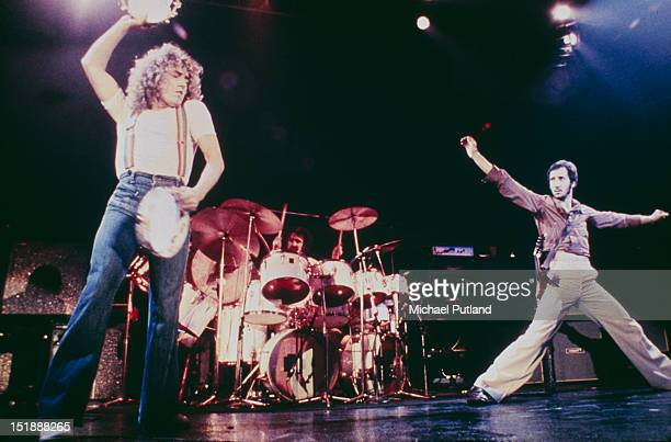 Singer Roger Daltrey and guitarist Pete Townshend performing on stage with English rock group The Who circa 1976 Keith Moon is on drums