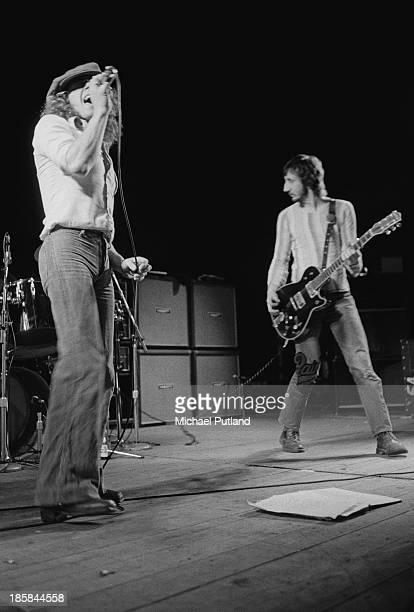 Singer Roger Daltrey and guitarist Pete Townshend performing with English rock group The Who 24th October 1973