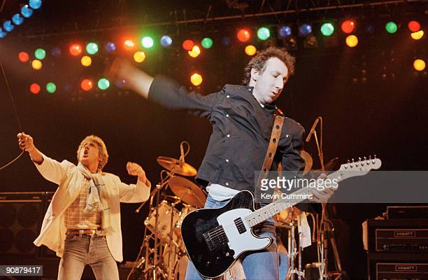Singer Roger Daltrey and guitarist Pete Townshend performing with English rock group The Who at the Manchester Apollo 1st March 1981