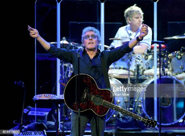 Singer Roger Daltrey and touring drummer Zak Starkey of The Who perform on the first night of the band's residency at The Colosseum at Caesars Palace...