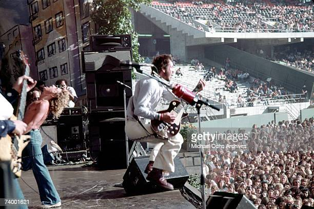 Singer Roger Daltrey bassist John Entwistle and guitarist Pete Townshend of the rock and roll band The Who perform onstage at the Oakland Coliseum in...