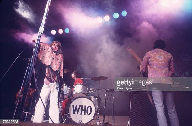 Singer Roger Daltrey bassist John Entwistle guitarist Pete Townshend and drummer Keith Moon the rock and roll band The Who perform on stage at the...