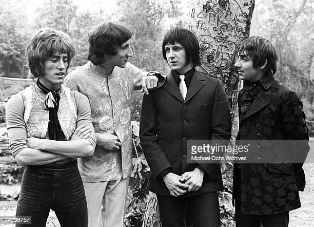 Singer Roger Daltrey guitarist Pete Townshed bassist John Entwistle and drummer Keith Moon of the rock and roll band The Who pose for a portrait...