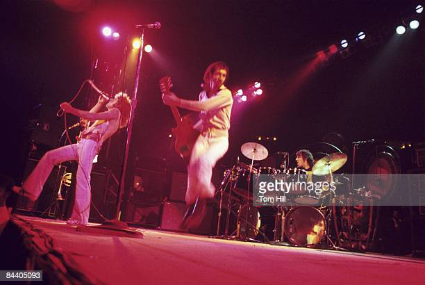 Singer Roger Daltrey guitarist Pete Townshend and drummer Keith Moon of The Who perform at the Omni Coliseum on November 27 1973 in Atlanta Georgia