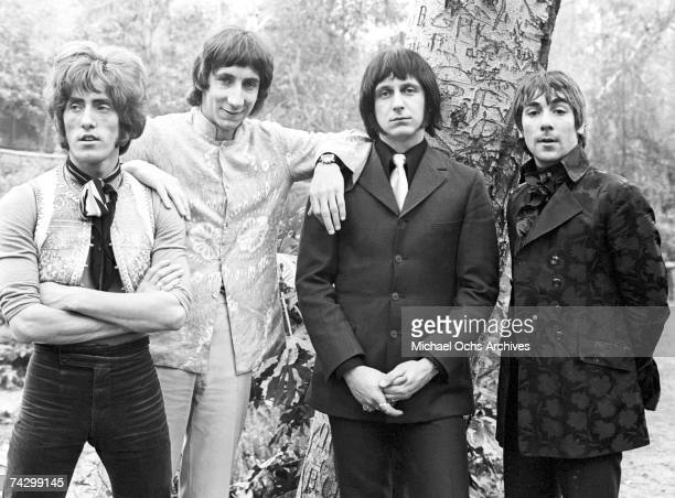 Singer Roger Daltrey guitarist Pete Townshend bassist John Entwistle and drummer Keith Moon of the rock and roll band The Who pose for a portrait...