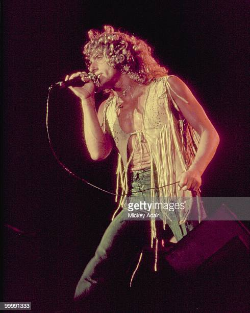 Singer Roger Daltrey of the rock and roll band The Who performs in concert at The Gator Bowl in 1976 in Jacksonville Florida