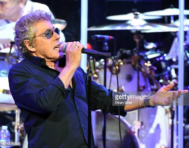 Singer Roger Daltrey of The Who performs on the first night of the band's residency at The Colosseum at Caesars Palace on July 29 2017 in Las Vegas...