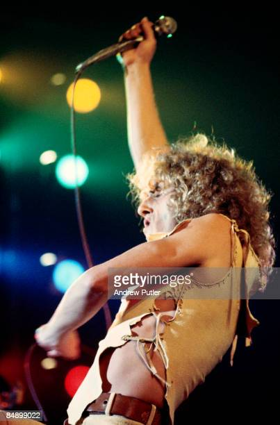 Singer Roger Daltrey of The Who performs onstage at the Empire Pool in Wembley on May 24 1975 in London England
