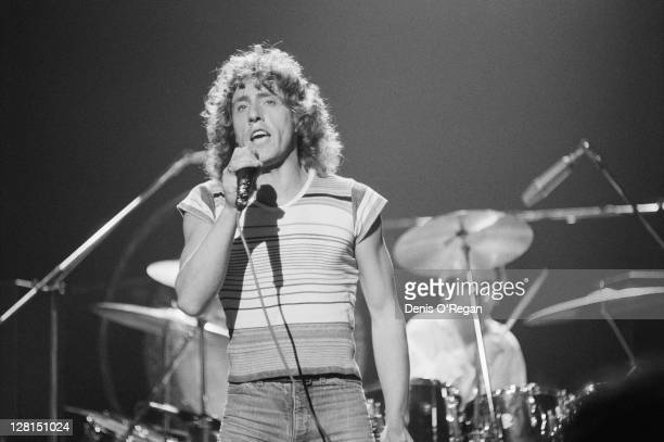 Singer Roger Daltrey performing with English rock group The Who at Shepperton Studios Surrey 25th May 1978 On the right is drummer Keith Moon The...