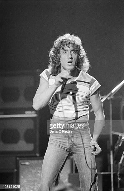 Singer Roger Daltrey performing with English rock group The Who at Shepperton Studios Surrey 25th May 1978 The concert was performed for the group's...