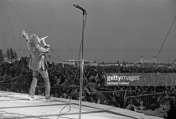 Singer Roger Daltrey performing with English rock group The Who the Fete de l'Humanite music festival Paris 9th September 1972