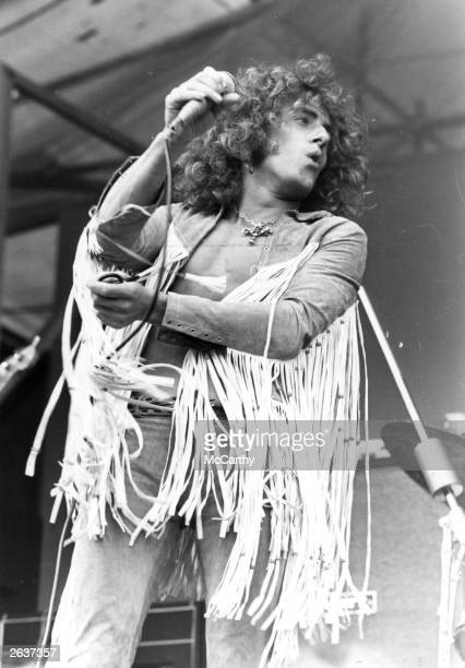 Singer Roger Daltrey performing with rock group the Who at the Isle of Wight Festival of Music 1969