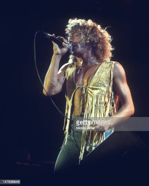 Singer Roger Daltrey performs with The Who at The Gator Bowl in Jacksonville FL on August 7 1976