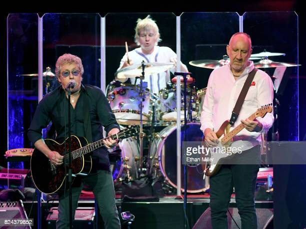 Singer Roger Daltrey, touring drummer Zak Starkey and guitarist Pete Townshend of The Who perform on the first night of the band's residency at The...