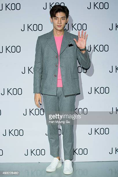 Singer Roh JiHoon poses for photographs at the 'J Koo' show as part of HERA Seoul Fashion Week S/S 2016 at DDP on October 18 2015 in Seoul South Korea