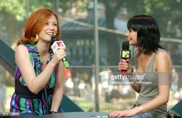 Singer Roisin Murphy with host Jo Jacobs during her guest appearance on MTV TRL Total Request Live show