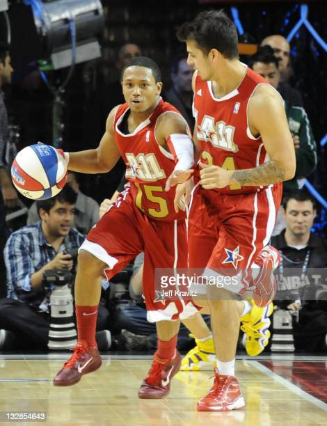 Singer Romeo Miller and TV personality RobKardashian during the 2011 BBVA NBA All-Star Celebrity Game at Los Angeles Convention Center on February...