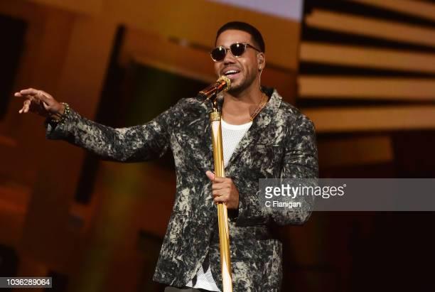 Singer Romeo Santos performs during his 'Golden Tour' at SAP Center on September 19 2018 in San Jose California