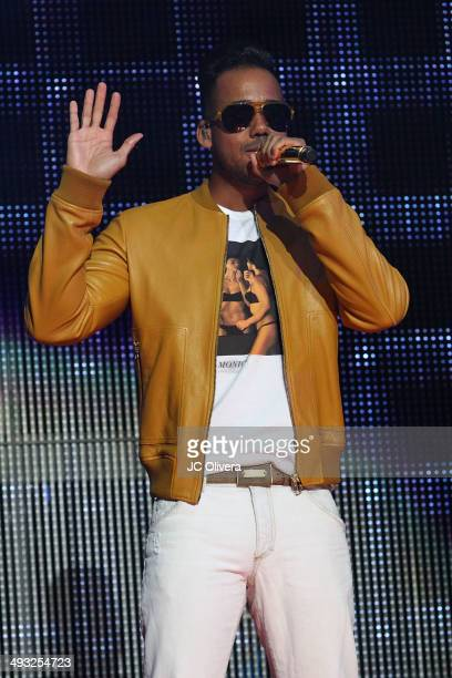 Singer Romeo Santos performs on stage at Staples Center on May 22 2014 in Los Angeles California