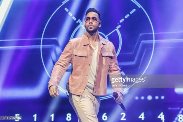 Singer Romeo Santos performs on stage during 'Inmortal' Aventura Tour at American Airlines Arena on March 10, 2020 in Miami, Florida.